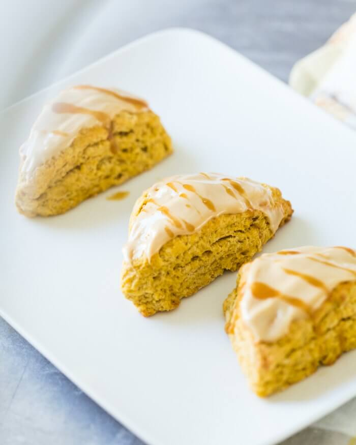 Pumpkin Scones with Maple Glaze | A Couple Cooks