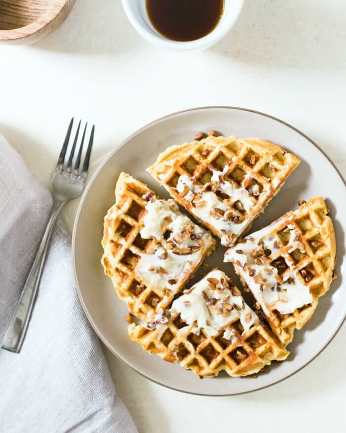 Cornbread Waffles with Maple Mascarpone