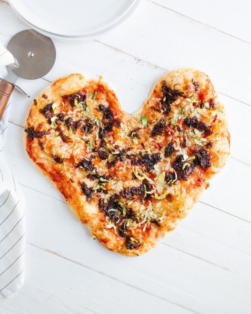 Heart-Shaped Caramelized Onion and Brussels Sprout Pizza | A Couple Cooks