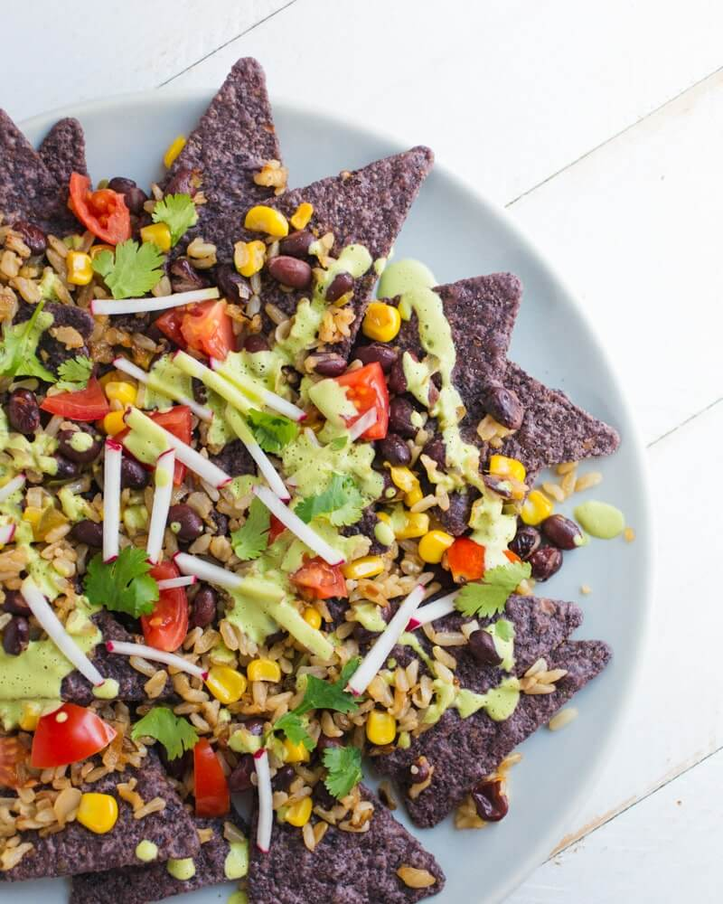 Mexican Fried Rice Nachos | Vegan Mexican Recipes