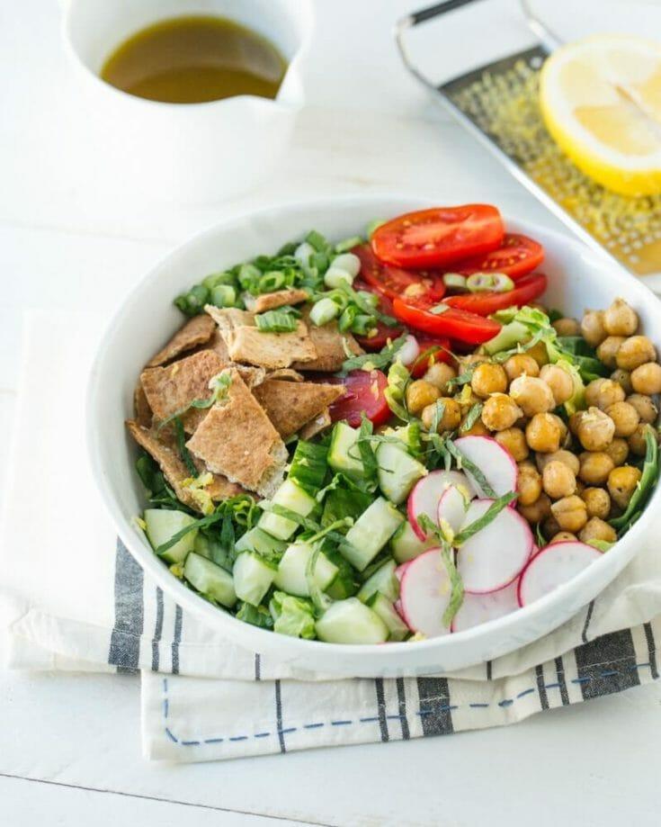 Chickpea Fattoush Salad Bowl