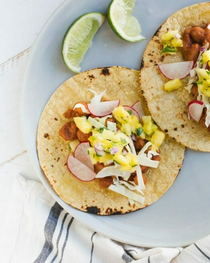 BBQ Bean Tacos with Pineapple Salsa
