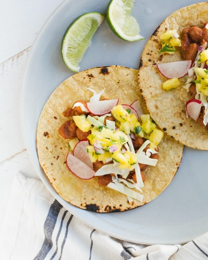 BBQ Bean Tacos with Pineapple Salsa | A Couple Cooks