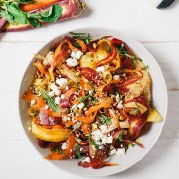 Carrot, Feta, and Pistachio Salad | A Couple Cooks via Kale and Caramel