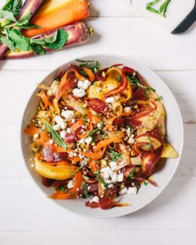 Carrot, Feta, and Pistachio Salad | A Couple Cooks via Kale and Caramel