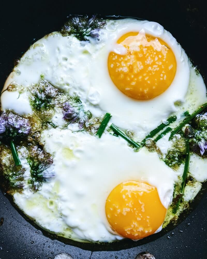Eggs with Chive Flowers