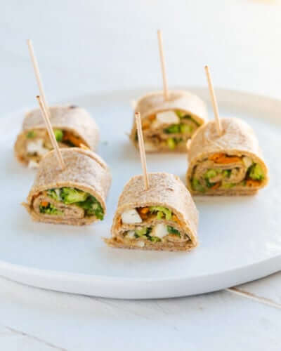 Vegetable Hummus Tortilla Rollups | A Couple Cooks