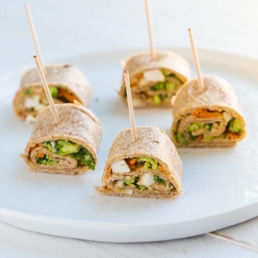 Vegetable Hummus Tortilla Rollups | A Couple Cooks