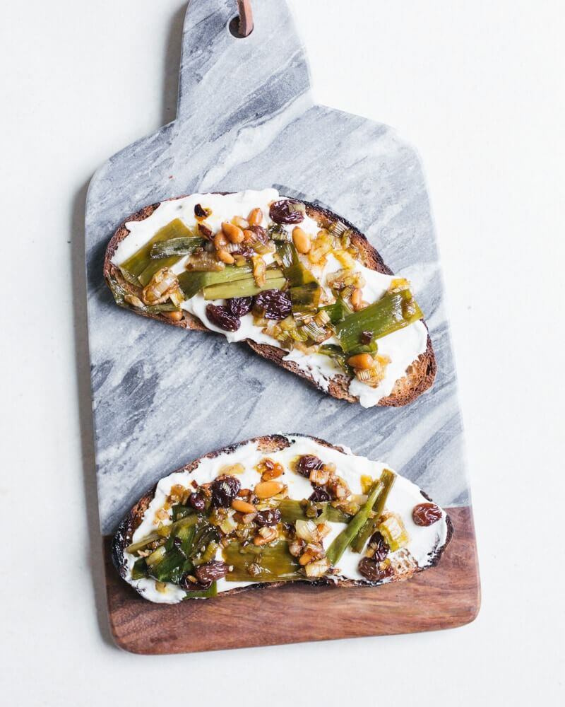 Agrodolce Scallions & Whipped Ricotta Toast | A Couple Cooks