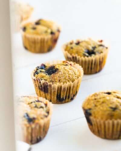 Turmeric Coconut Oil Blueberry Muffins | A Couple Cooks