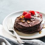 Chocolate Brownie Spelt Vegan Pancakes | A Couple Cooks