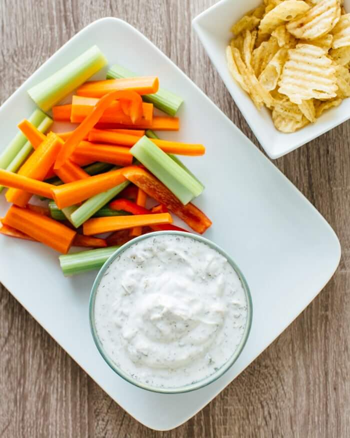 Carrots with Healthy Ranch Dressing