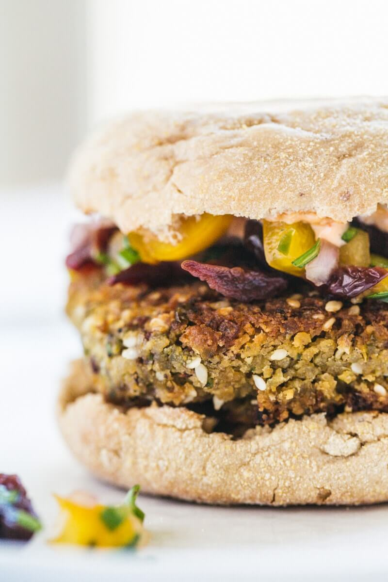 Chickpea Burgers with Sour Cherry Salsa