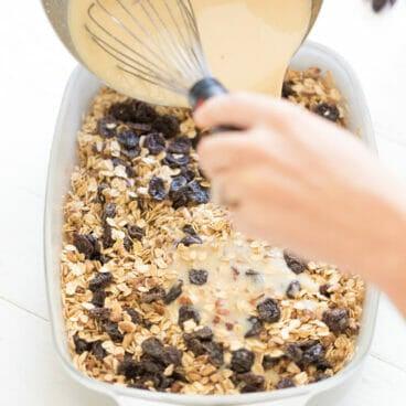 Tart Cherry Cardamom Baked Oatmeal | A Couple Cooks