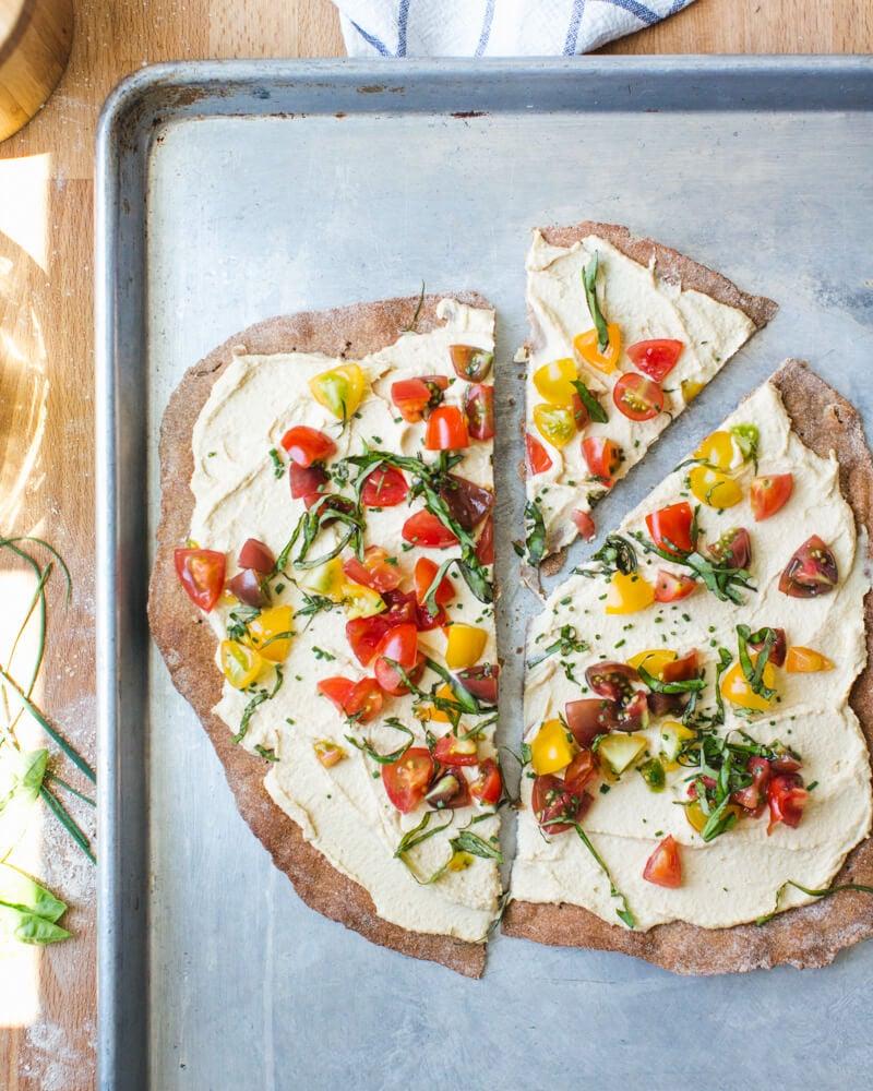 Rye pizza dough cracker crust | Tomato flatbread