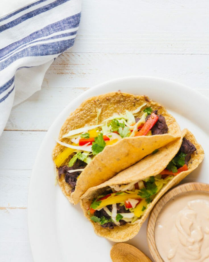 Refried Bean Tacos with Chipotle Cream