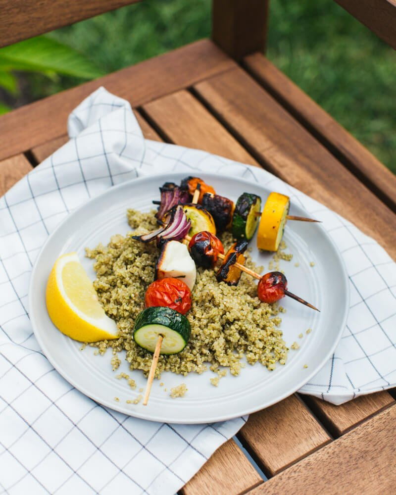 Greek Grilled Veggie Skewers & Summer Grilling | A Couple Cooks