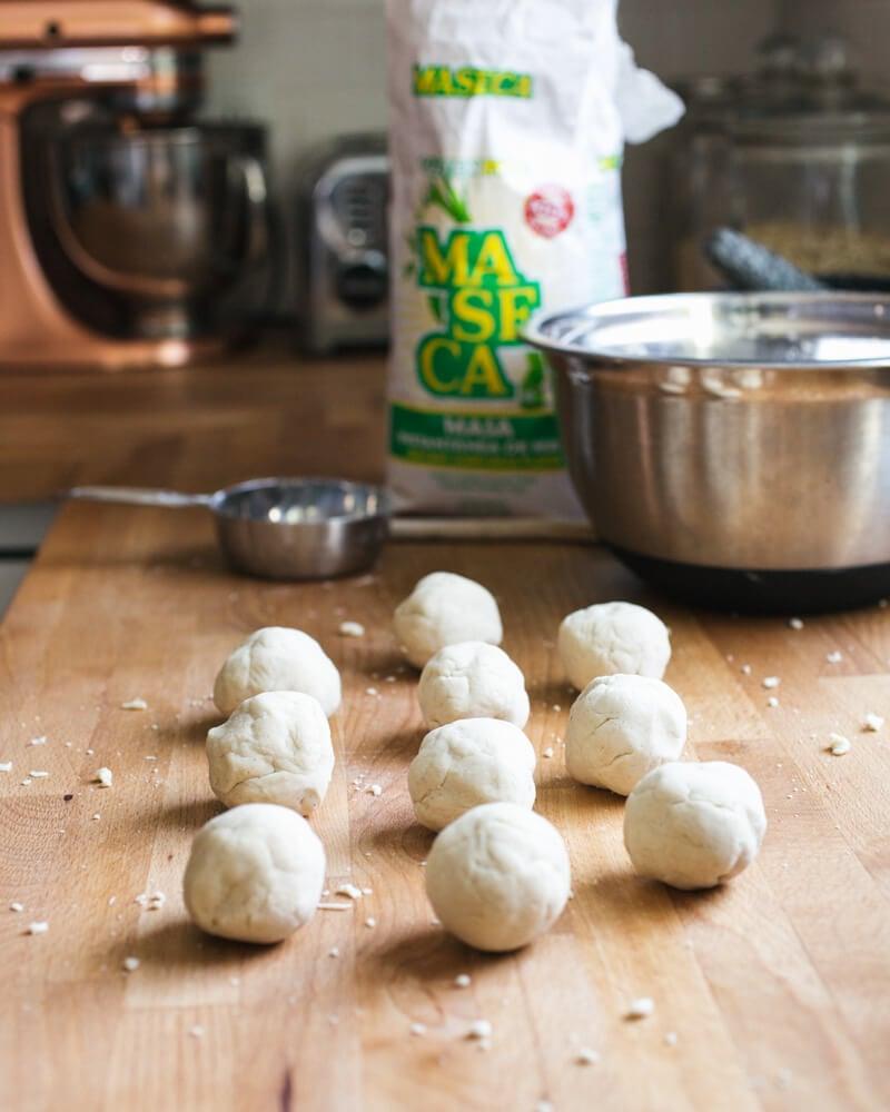 Masa harina dough balls