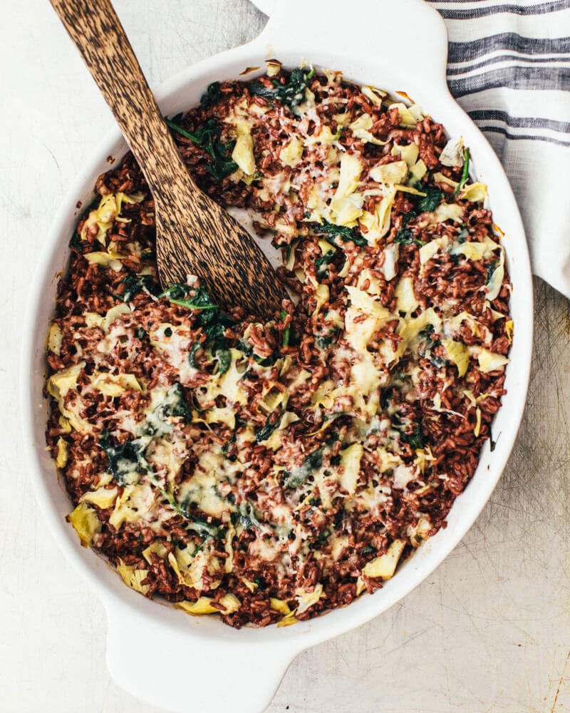 Spinach artichoke rice casserole