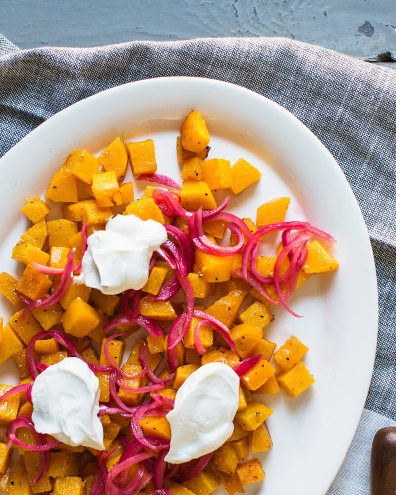 Roasted Butternut Squash with Pickled Onions | Baked butternut squash