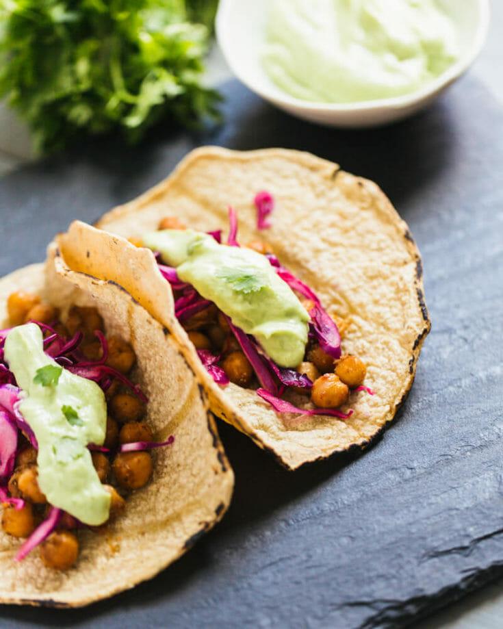 Spiced Chickpea Tacos with Avocado Cream