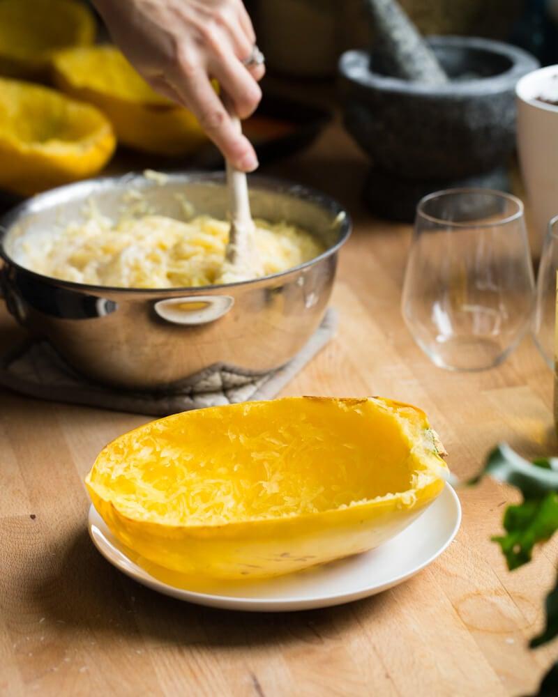 Spaghetti Squash Mac and Cheese | A Couple Cooks