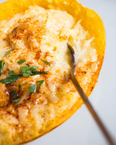 Spaghetti Squash Mac & Cheese | A Couple Cooks