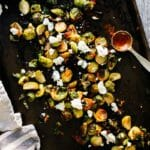 Roasted Brussels Sprouts with Goat Cheese & Harissa | A Couple Cooks