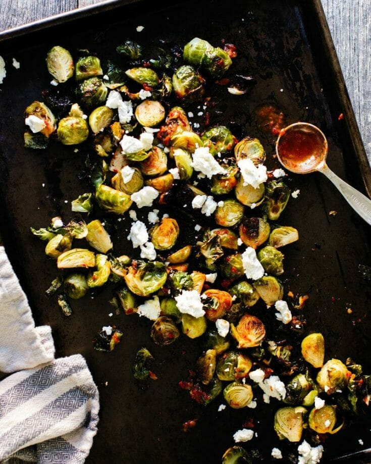Crispy Brussels Sprouts with Goat Cheese