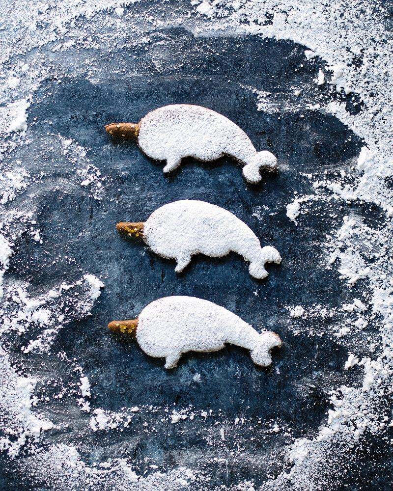 Narwhal Gingerbread Cutout Cookies | A Couple Cooks