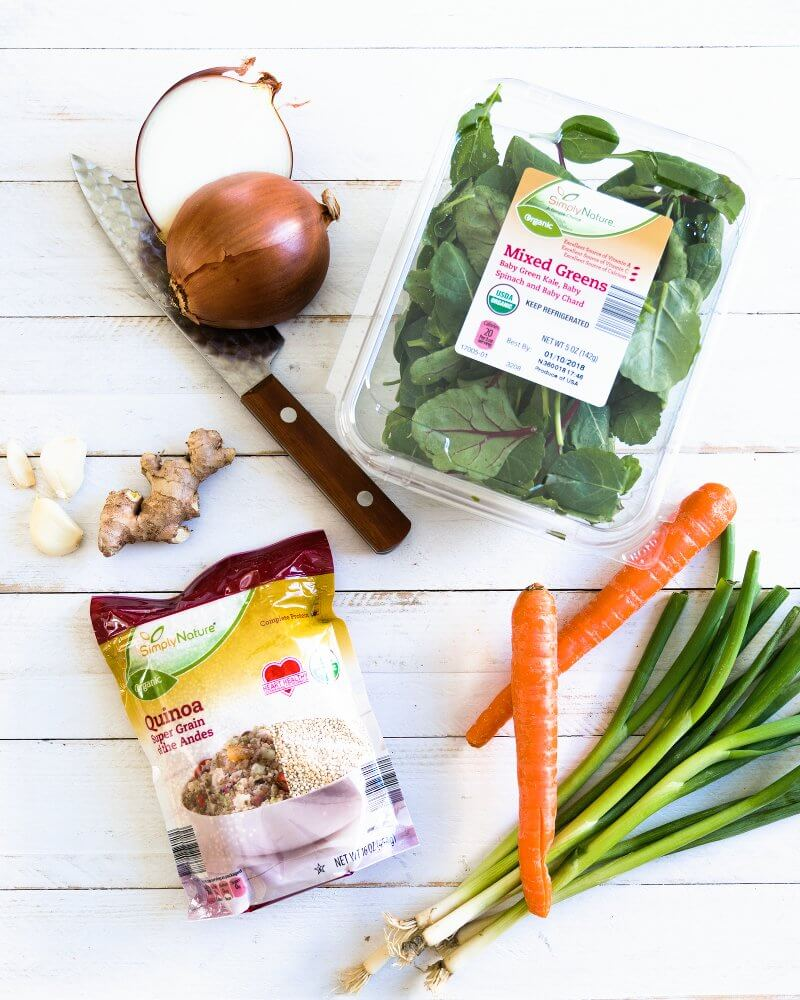 Ingredients for quinoa fried rice