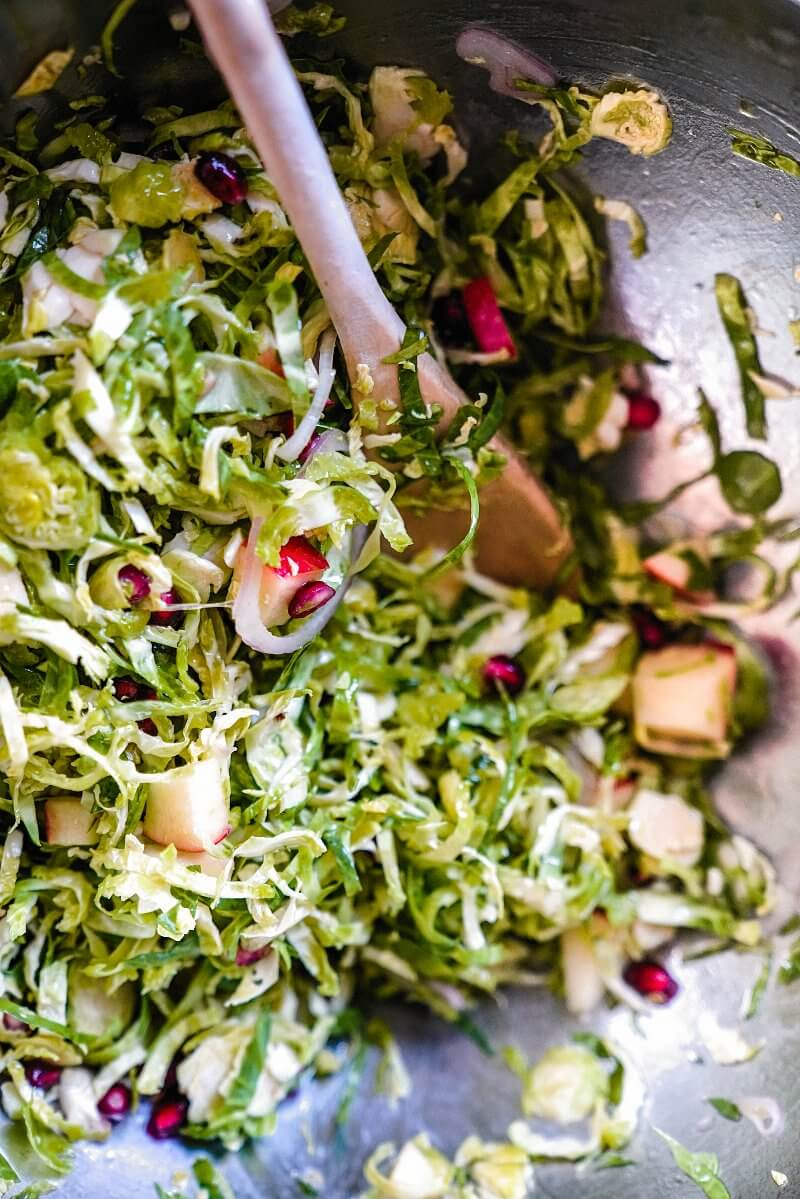 Pomegranate Shaved Brussels Sprout Salad | A Couple Cooks