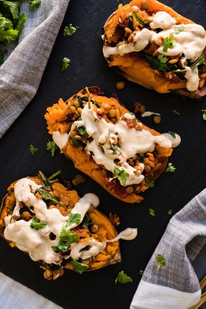 Healthy Baked Sweet Potato with Moroccan Lentils | Best lentil recipes