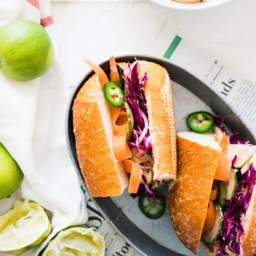 Vegan Banh Mi with Ginger Lime Hummus | A Couple Cooks