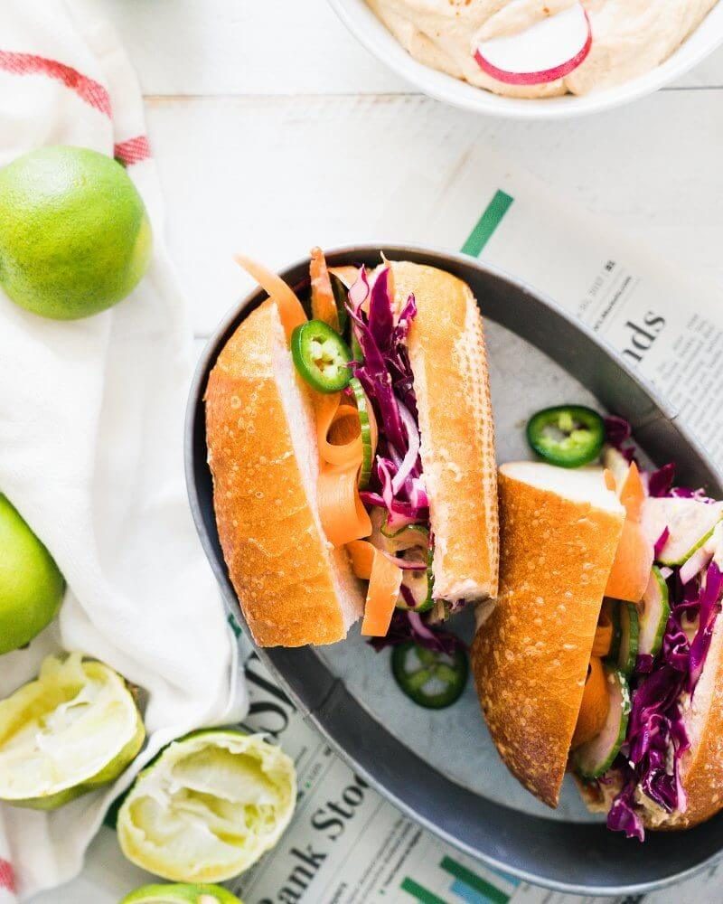 Vegan Banh Mi with Ginger Lime Hummus