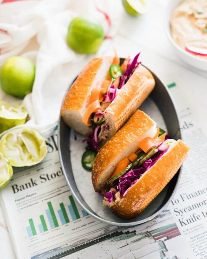 Vegan Banh Mi Sandwich with Ginger Lime Hummus | A Couple Cooks