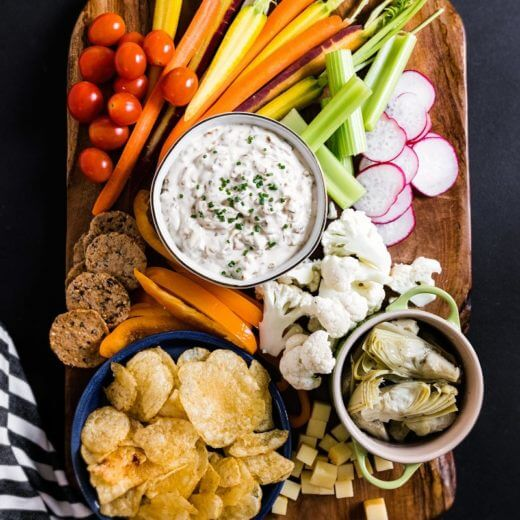 Happy Hour Platter with Caramelized Onion Dip | A Couple Cooks via Platters and Boards