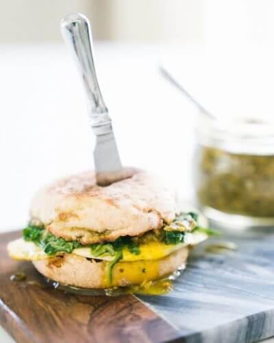5-Minute Pesto & Arugula Breakfast Sandwich   A Couple Cooks