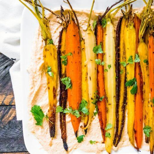 Roasted Carrots with Cumin Seed & Hummus | A Couple Cooks