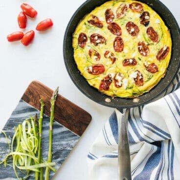 Roasted Tomato & Shaved Asparagus Frittata | A Couple Cooks