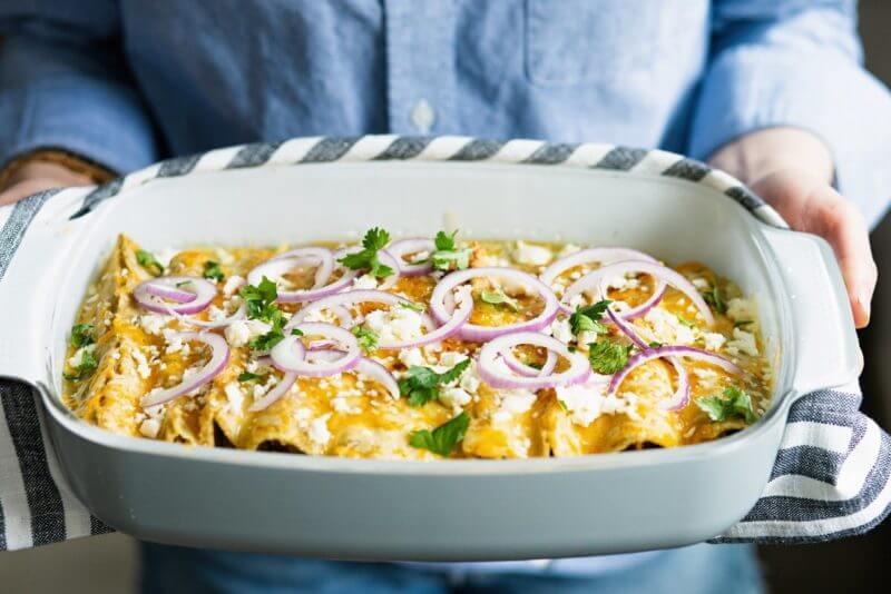 Vegetarian enchiladas with quinoa
