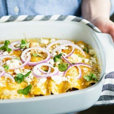 Artichoke & Quinoa Vegetarian Enchiladas   A Couple Cooks via Feast by Sarah Copeland