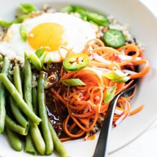 Quinoa Bibimbap Bowls | A Couple Cooks via The Minimalist Kitchen