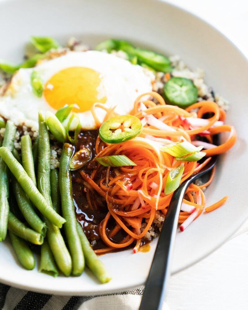 Vegetarian Bibimbap Bowl | A Couple Cooks via The Minimalist Kitchen