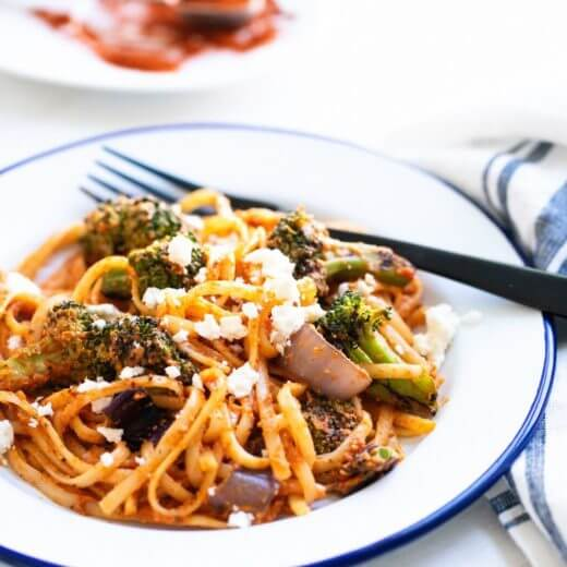 Grilled Vegetable Pasta with Romesco | A Couple Cooks