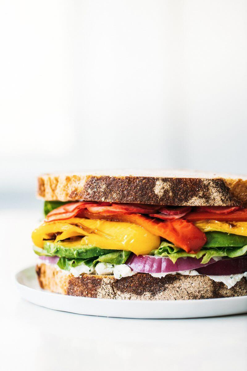 Ultimate Rainbow Vegetable Sandwich | A Couple Cooks via The Pretty Dish