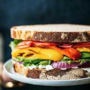 Ultimate Rainbow Vegetable Sandwich | A Couple Cooks via The Pretty Dish