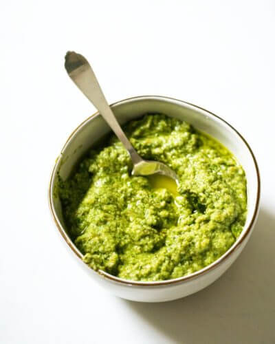 Garlic Scape Pesto | A Couple Cooks