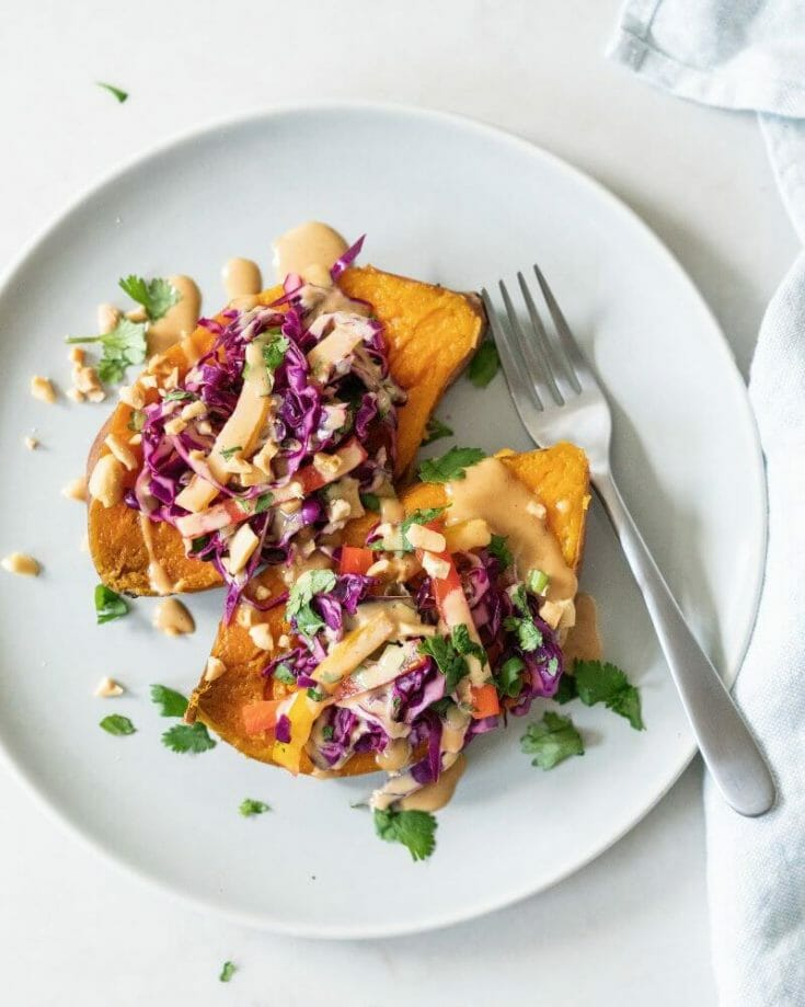 Sweet Potatoes with Thai Peanut Butter Sauce