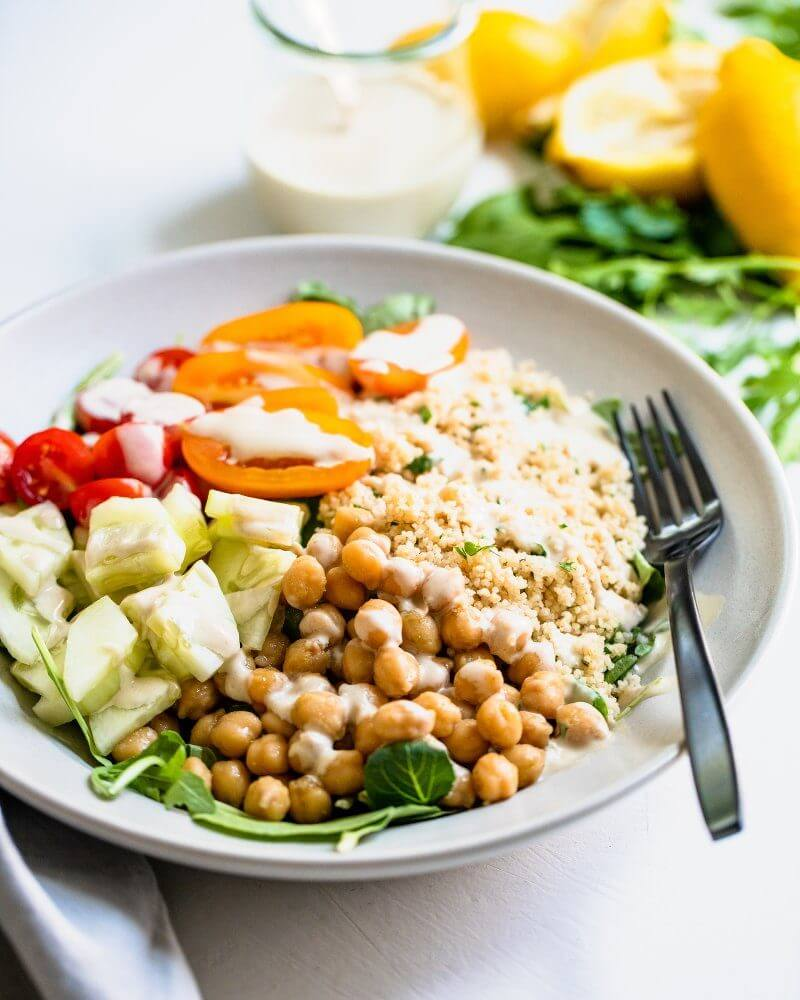 Plant based diet meal plan: Chickpea Couscous Bowls with Tahini Sauce